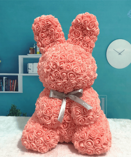桃紅色玫瑰兔肥皂花