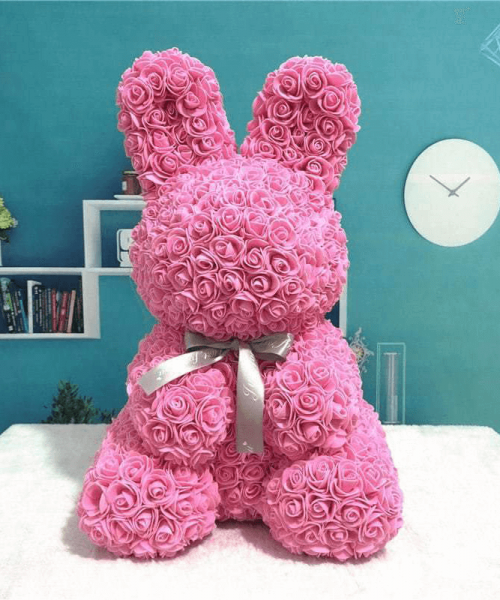 粉紅色玫瑰兔肥皂花
