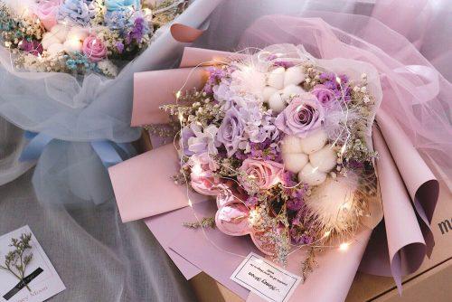海約山盟粉紫色保鮮玫瑰花束 1