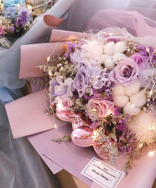 海約山盟粉紫色保鮮玫瑰花束 3